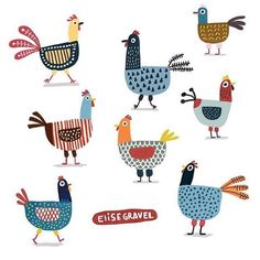 Poules is an original digital art print by Elise Gravel . Each 8 x 8 inch archival quality giclée print is a signed and numbered limited edition, pri Vogel Illustration, Chicken Illustration, Rooster Illustration, Elise Gravel, Chicken Art, Chicken Drawing, Chickens And Roosters, Hens, Animal Design