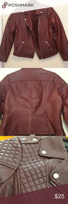Faux Leather Jacket Wine/Burgundy faux leather Jacket. Silver zipper and trimmings. Moto style. Charlotte Russe size 1X. Sleeve length is 24 ins. Shoulder to hem is 23 ins. New, never worn & ready for date nights. Charlotte Russe Jackets & Coats Blazers