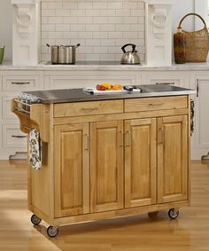 Look what I found on #zulily! Stainless Steel & Natural-Finish Create-a-Cart Kitchen Cart #zulilyfinds