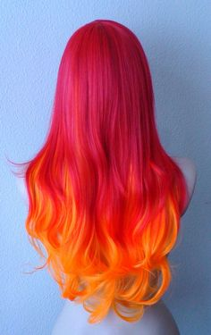 Red / Orange hair Ombre wig. Long hair Long bangs by kekeshop