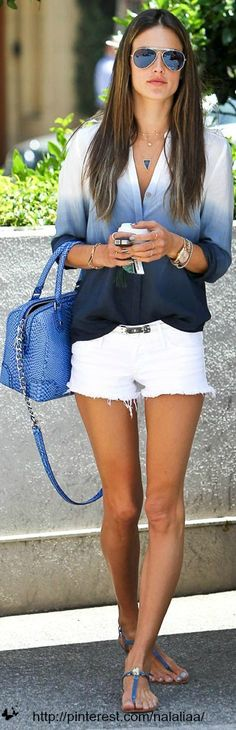 Love the blue ombre shirt with white shorts...Alessandra Ambrosio, so beachy and pretty