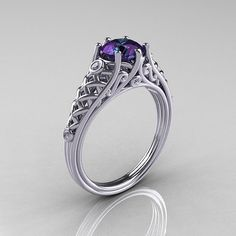 Classic French 18K White Gold 10 Carat Alexandrite by artmasters, $1899.00