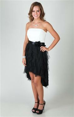 Deb Shops strapless dress with ruched body and rosette twist with high low skirt $62.90