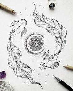 Cool Art Drawings, Art Drawings Sketches, Tattoo Drawings, Fish Drawings, Cute Tattoos, Body Art Tattoos, Lion Tattoo Sleeves, Carpe Koi, Zodiac Art