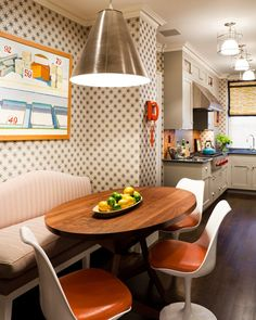 Upper West contemporary kitchen Thom Filicia Inc Eclectic Kitchen, Eclectic Decor, Kitchen Interior, Dining Nook, Dining Room Lighting, Kitchen Dining, Kitchen New York, Tulip Chair, Kitchen Confidential