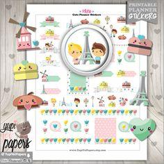 Paris Stickers, Planner Stickers, Eiffel Tower, Kawaii Stickers, Planner Accesories, Flower Stickers, Macaroon Sticker, Erin Condren