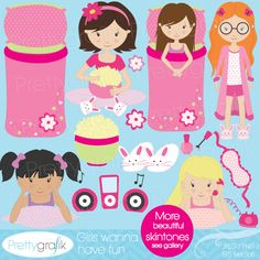 Girls wanna have fun - adorable graphics of girls at a sleepover.  Perfect for invitations, crafts and scrapbooking those slumber party memories.