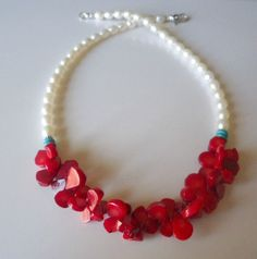 Lotus Flower Coral And Pearl Jewelry Necklace by shawnlacydesigns
