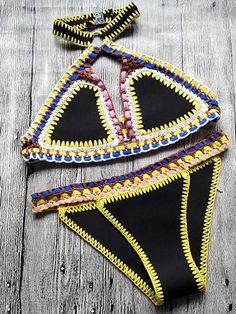 Halter Neo Crochet Bikini Suit - MYNYstyle - 2
