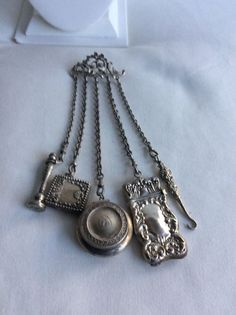 VICTORIAN 800 SILVER CHATELAINE WITH STERLING SILVER ACCESSORIES