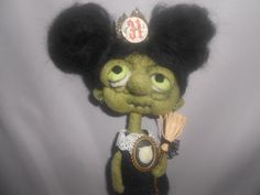Sweet green Witch needle felted art doll by papermoongallery, $69.00
