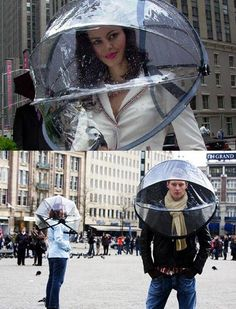 Nubrella protects you against rain- wind- sleet- snow and extreme cold. It is an umbrella for all inclement weather conditions not just rain. , from Iryna Ideas Para Inventos, Cool Umbrellas, Rain Gear, Unusual Things, Cool Inventions, Cool Gadgets, Geek Gadgets, Things To Buy, Street Furniture