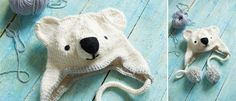 Knitted Polar Bear hat, free pattern by from Rachel Henderson from her book Animal Hats
