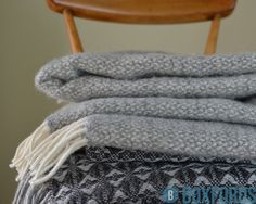 Soft and Cosy Tweedmill Pure New Wool Throws in Stylish Greys. Made in Britain!