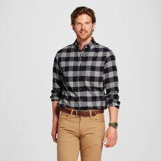 Men's Flannel Button Down Shirt Charcoal (Grey) S - Merona