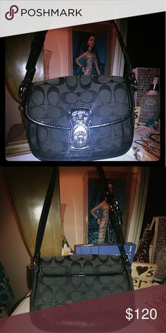 Authentic coach handbag This cute little black coach handbag is perfect for any occasion! Great to bring to weddings or when you don't feel like carrying a big purse!  In great condition! Has a pocket on the front under the turn lock opening and two inside. Strao is in perfect condioton.purse does have a couple scuffs on front from use. Coach Bags Mini Bags
