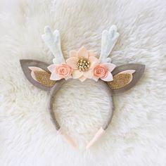 Items similar to Deer Antler Crown Headband // peaches and cream boho felt flower crown on Etsy Felt Crafts, Diy And Crafts, Crafts For Kids, Diy Headband, Baby Headbands, Crown Headband, Antler Headband, Felt Flowers, Fabric Flowers