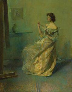 The Necklace, ca 1907, Thomas Wilmer Dewing. American Tonalist Painter (1851 - 1938)