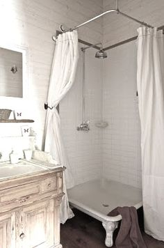 French Touch by Zaza Love the claw foot shower pan for people who don't li.French Touch by Upstairs Bathrooms, Laundry In Bathroom, Bathroom Renos, Bathroom Shower Curtains, Small Bathroom, Design Bathroom, Victorian Bathroom, Vintage Bathrooms, Chic Bathrooms