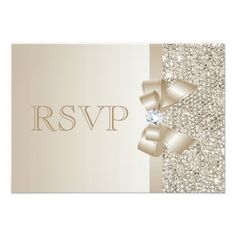 RSVP Champagne Sequins, Bow and Diamond RSVP 3.5x5 Paper Invitation Card