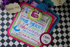 Alice in Wonderland Mad Hatter Tea Party Birthday Invitations