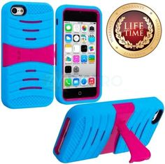 Amazon.com: myLife (TM) Sky Blue + Hot Pink Armor Shell (Slim Armorsuit Defender) Case for NEW iPhone 5C Generation Touch Phone (Built In Ki...