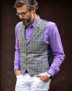 A look with beard, waistcoat, white jeans and purple shirt. #dapper #man #style #beard