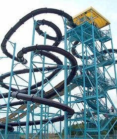 High and NOT Dry: The Tallest Water Slides in North America: Number 6: Turbo Twisters- 100 Foot Drop