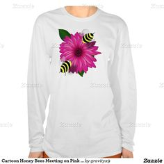 Honey Bees Meeting on Pink Flower Tee Shirt by #gravityx9 #zazzle -