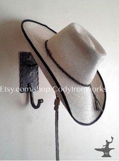 Cowboy Hat & Coat Rack Wall Hanger Combo - Hand Forged in Wyoming Wall Hat Racks, Diy Hat Rack, Wall Mounted Coat Rack, Cowboy Hat Rack, Cowgirl Hats, Western Hats, Western Wear, Hanger Hooks, Wall Hanger