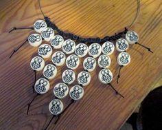 Owl necklace, polymer clay DIY millefiori beads.