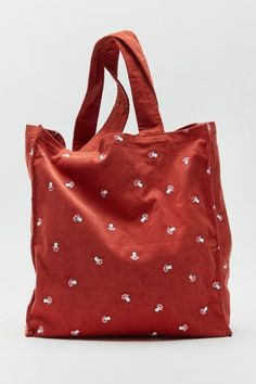 Red Tote Bag, Embroidered Bag, Accessories Shop, Bag Making, Corduroy, Baby Dolls, Urban Outfitters, Reusable Tote Bags, Purses