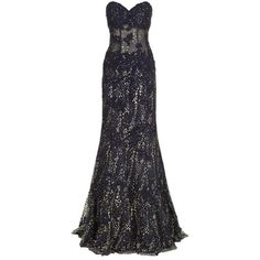 Jovani Glittered Lace Corset Gown ($1,480) ❤ liked on Polyvore featuring dresses, gowns, black strapless dress, black lace ball gown, black gown, black evening dresses and jovani gown