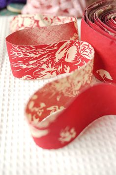 3M Japanese Bias Fabric Ribbon  Red Toile by Buttonsandsuch, $3.80