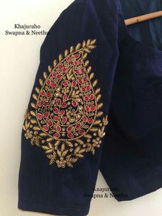 Blouse Pattu Saree Blouse Designs, Simple Blouse Designs, Blouse Designs Silk, Designer Blouse Patterns, Bridal Blouse Designs, Zardosi Work Blouse, Maggam Work Designs, Bordado Floral, Sleeve Designs