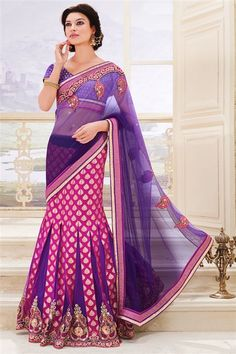 Net, Georgette Purple, Pink Designer Party Wear Sa