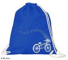 Fahrrad Turnbeutel in blau bei Bär-leena 100% Baumwolle mit einer Stärke von 180 g/m2 Abmessungen Rucksäcke: 37 cm x 46,5