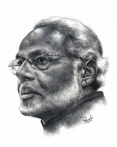 Pencil Sketch #Portrait of our Honourable Prime Minister of India, Mr Narendra Modi by Pranab Das.