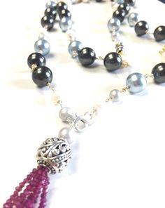 A Pearl Statement Necklace with Pink Rhodolite Garnet Tassel – Ginny Taylor Designs