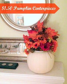 $1.50 Fall Centerpiece. Paint an orange plastic pumpkin bucket, fill with fall arrangement!