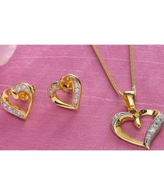 Buy 9ct Gold Plated Silver Zirconia Heart Pendant and Earrings at Argos.co.uk - Your Online Shop for Ladies' jewellery sets.