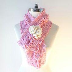 Pink Sophia Floral scarf Floral brooch with by ValerieBaberDesigns