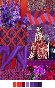 #Colors #SS16 ~ RED+PURPLE ~ FASHION VIGNETTE: TRENDS // PATTERN CURATOR - COLOR INSPIRATIONS SS 2016