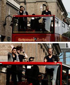 "The boys in GERMANY. ""Bird's Berlin Bus Tours"" Lol"
