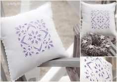 Pillow with cutwork embroidery / Подушка с вышивкой ришелье