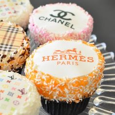 Adding Hermes, Chanel, Louis & Burberry cupcakes to our birthday party wishlist