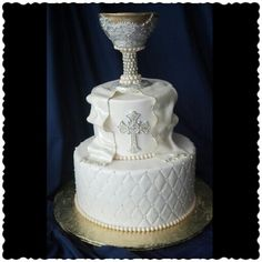 Simply Sweet by Helen - First Holy Communion Cake. Custom, handmade, all edible chalice.