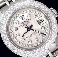 Rolex Stainless Steel Datejust, with custom double row diamond bezel and Mother of Pearl string diamond dial ~ Altin Place