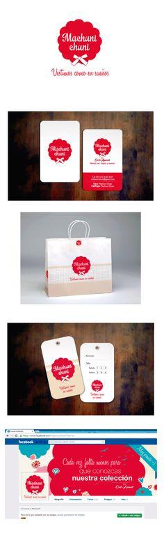 Machuni Chuni - Indumentaria para bebes y niños.  Diseño de logo, aplicación en papelería comercial. Tarjetas personales. Etiquetas colgantes. Diseño de bolsa. Desarrollo de imagenes comerciales para redes sociales.