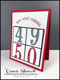 Make It Monday Tutorial - Look Who's Turning 50 card - download the FREE tutorial at www.SimplySimpleStamping.com - look for the April 30, 2018 blog post!